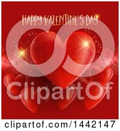 Poster, Art Print Of Gold Happy Valentines Day Greeting Over Red Hearts And Sparkles