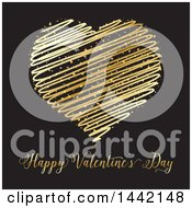 Poster, Art Print Of Gold Scribble Heart Over Valentines Day Text On Black