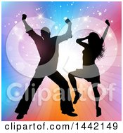 Clipart Of A Silhouetted Couple Dancing Over A Colorful Burst With Stars Royalty Free Vector Illustration by KJ Pargeter