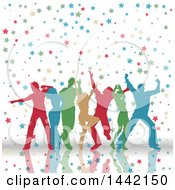 Clipart Of A Group Of Colorful Silhouetted People Dancing In Stars Royalty Free Vector Illustration by KJ Pargeter