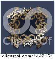 Vintage Ornate Golden Floral Frame On Blue