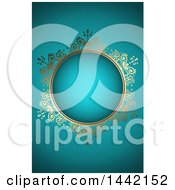 Clipart Of A Golden Ornate Floral Frame On Turquoise Or Teal Royalty Free Vector Illustration