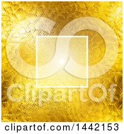 Clipart Of A Background Of A Lightened Square Frame Over Light And Golden Dots Royalty Free Vector Illustration