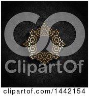 Golden Ornate Floral Frame On Black