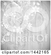Clipart Of A Grayscale Floral Vine And Wood Background Royalty Free Vector Illustration