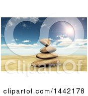 Clipart Of A Stack Of 3d Balanced Stones Against Sky Royalty Free Illustration by KJ Pargeter