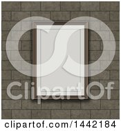 Clipart Of A 3d Blank Picture Rame On A Brick Wall Royalty Free Illustration