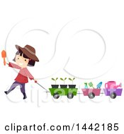 Clipart Of A Girl Pulling A Wagon Of Gardening Tools Royalty Free Vector Illustration