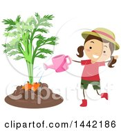 Clipart Of A Brunette Caucasian Girl Watering Or Fertilizing A Giant Carrot Royalty Free Vector Illustration
