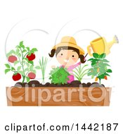 Clipart Of A Brunette Caucasian Girl Watering Her Plants In A Raised Garden Royalty Free Vector Illustration