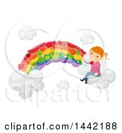 Clipart Of A Red Haired Caucasian Girl Sitting On A Vegetable Rainbow Cloud Royalty Free Vector Illustration