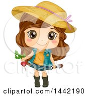 Clipart Of A Cartoon Brunette Caucasian Girl Wearing A Sun Hat And Harvesting A Beet Royalty Free Vector Illustration