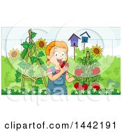 Clipart Of A Cartoon Red Haired Caucasian Girl Eating Fresh Tomatoes In Her Garden Royalty Free Vector Illustration