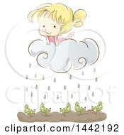 Clipart Of A Sketched Blond Caucasian Girl On A Rain Cloud Over A Garden Royalty Free Vector Illustration