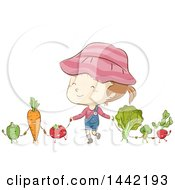 Clipart Of A Sketched Caucasian Girl Holding Hands With Vegetables Royalty Free Vector Illustration