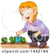 Clipart Of A Cartoon Red Haired Caucasian Girl Picking Snails Out Of Her Garden Royalty Free Vector Illustration