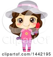 Clipart Of A Brunette Caucasian Girl In A Cute Outfit Holding A Garden Trowel Royalty Free Vector Illustration
