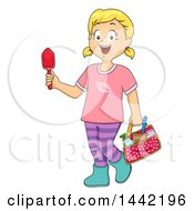 Clipart Of A Cartoon Blond Caucasian Girl With Garden Tools Royalty Free Vector Illustration