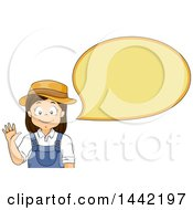 Clipart Of A Happy Caucasian Farmer Girl Waving And Talking Royalty Free Vector Illustration