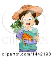 Clipart Of A Happy Caucasian Girl Wearing A Sun Hat And Holding Harvested Carrots Royalty Free Vector Illustration