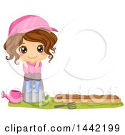 Clipart Of A Cartoon Brunette Girl Sitting On A Pail By A Garden Bed Royalty Free Vector Illustration by BNP Design Studio