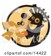 Happy Dog Licking A Mans Chin Clipart Illustration by Andy Nortnik