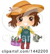 Clipart Of A Brunette Caucasian Girl With Gardening Tools Royalty Free Vector Illustration