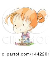 Clipart Of A Sketched Red Haired Caucasian Girl Planting A Seedling In A Garden Royalty Free Vector Illustration