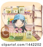 Clipart Of A Sketched Witch Girl Making An Herbal Potion Royalty Free Vector Illustration by BNP Design Studio