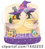 Clipart Of A Sketched Witch Girl Holding A Wood Sign Over A Table Of Potions Royalty Free Vector Illustration