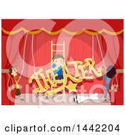 Clipart Of A Group Of Boys Setting Up Stage Decorations For A Play Royalty Free Vector Illustration