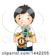 Clipart Of A Cartoon Proud Asian School Boy Holding A Winning Robot Invention Royalty Free Vector Illustration