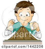 Clipart Of A Cartoon Brunette Caucasian School Boy Simulating A Volcanic Explosion Royalty Free Vector Illustration by BNP Design Studio