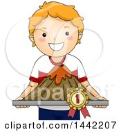 Clipart Of A Proud Red Haired Caucasian School Boy Holding A Winning Volcano Model Royalty Free Vector Illustration