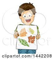 Clipart Of A Cartoon Brunette Caucasian Boy Holding Artwork Of Leaves Royalty Free Vector Illustration