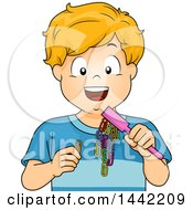 Cartoon Blond Caucasian Boy Experimenting With Magnets And Paperclips