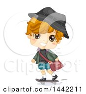 Clipart Of A Cute Caucasian Boy Skateboarding To School Royalty Free Vector Illustration