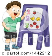 Cartoon Brunette Caucasian Schhool Boy Learning How To Count With Magnets On A Board