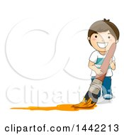 Clipart Of A Cartoon Brunette Caucasian Boy Painting In Orange With A Giant Paintbrush With Text Space To The Left Royalty Free Vector Illustration