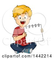 Clipart Of A Cartoon Blond Caucasian School Boy Sitting And Presenting A Blank Notebook Royalty Free Vector Illustration