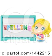 Clipart Of A Blond Caucasian School Girl Spelling On A Board Royalty Free Vector Illustration