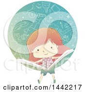 Clipart Of A Sketched Red Haired Caucasian Girl Reading A Book With Doodled Things Royalty Free Vector Illustration by BNP Design Studio