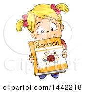 Cartoon Blond Caucasian Girl Holding Up A Science Book