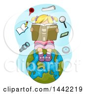 Clipart Of A Cartoon Blond Caucasian Girl Reading A Geography Book On Planet Earth With Floating Items Royalty Free Vector Illustration by BNP Design Studio