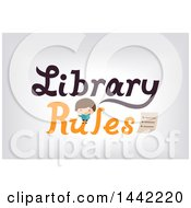 Clipart Of A Caucasian Boy Reading A Book On Library Rules Text Over Gray Royalty Free Vector Illustration