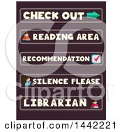 Clipart Of Labels Of Library Phrases And Words Royalty Free Vector Illustration