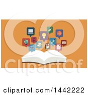 Clipart Of A Flat Style Open Book With Topic Icons Over Orange Royalty Free Vector Illustration