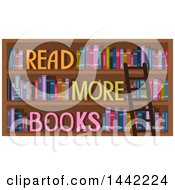 Clipart Of A Ladder Leaning Against Shelves With Read More Books Text Royalty Free Vector Illustration