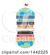 Poster, Art Print Of Flat Styled Globe With Books In The Center