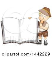 Clipart Of A Cartoon Caucasian Safari Boy Holding Up A Giant Book Royalty Free Vector Illustration